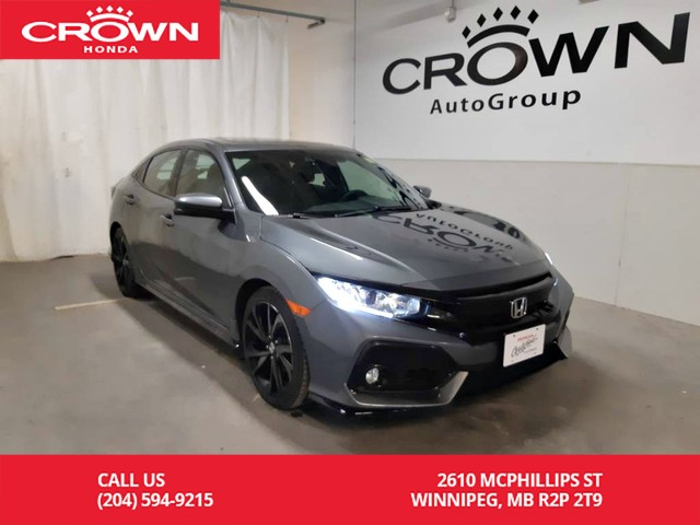 Certified Pre-Owned 2017 Honda Civic Hatchback Sport w/Honda Sensing/ ONE OWNER/ LOW KMS/push start button/ multi angle back up cam/econ mode assist/ sunroof/heated seats
